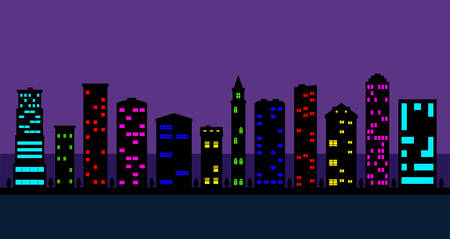 a set of black high-rise buildings with colored windows, city street at night 向量圖像