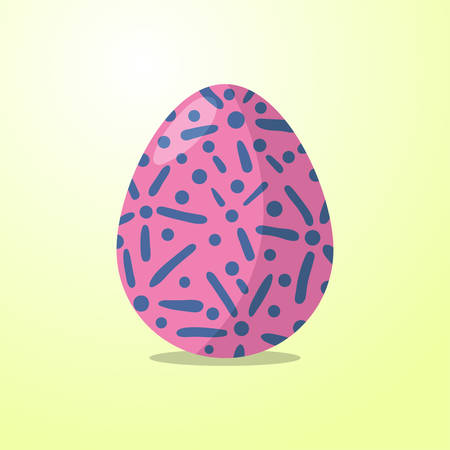 pink egg with blue pattern on yellow background