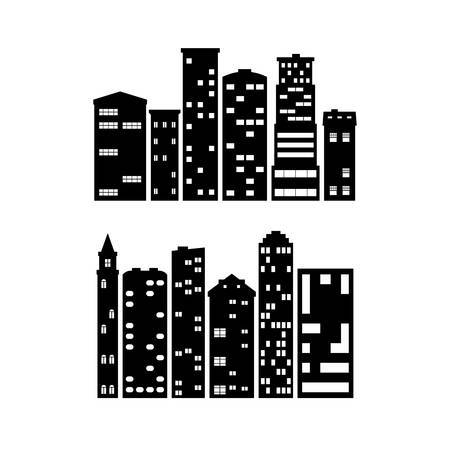 set of 12 silhouettes of black buildings on white background 向量圖像