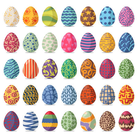 set of colorful easter eggs on white background