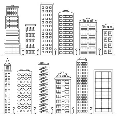 set of high-rise buildings in a linear style on white background 向量圖像