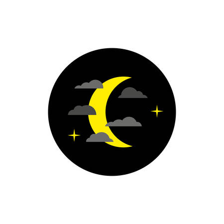 yellow moon behind the clouds at night, icon on white background 向量圖像
