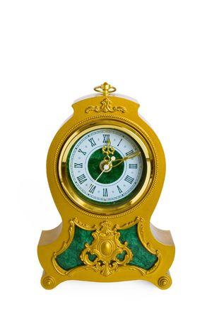 wood tick: Old clock isolated on white background Stock Photo