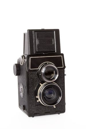 viewfinder vintage: Old twin-lens reflex large format camera isolated on white background Stock Photo