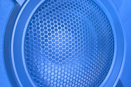 loud speaker: Blue Loud Speaker with grille close up Stock Photo