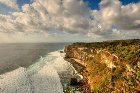 High dynamic range image of high precipice  above ocean photo