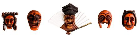 exorcism: Traditional Korean Mask in a frame isolated on white background