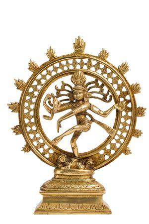 shiva: Statue de la indien dieu hindou Shiva Nataraja - Seigneur de la Danse isol� sur blanc  Banque d'images