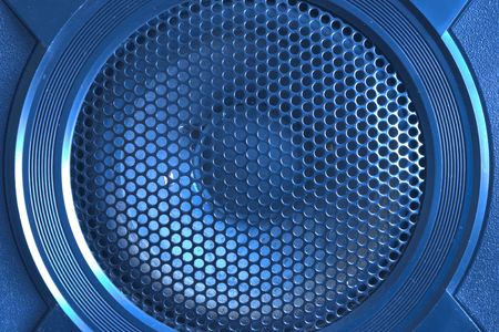 loud speaker: Blue tinted loud speaker with grille close up