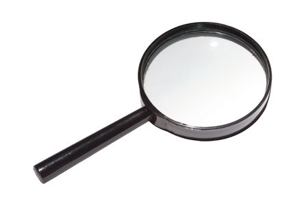 enlarger: Magnifying glass isolated on white Stock Photo