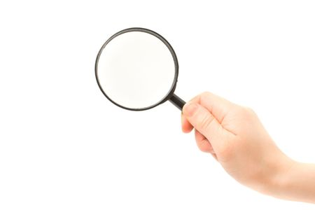 Woman hand holding magnifying glass isolated on white background Stock Photo