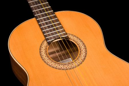 Classical guitar close up on dark background Stock Photo - 3118111