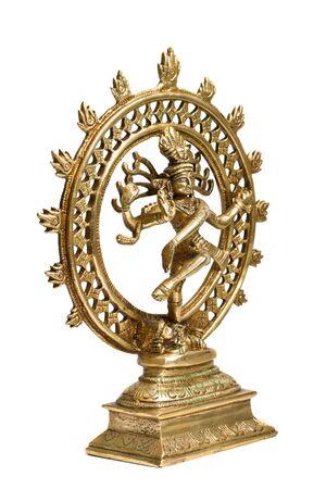 Statue of indian hindu god Shiva Nataraja - Lord of Dance isolated on white photo