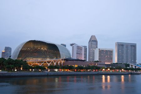 Esplanade (Singapore opera and concert hall Durian) ) at dusk Editorial