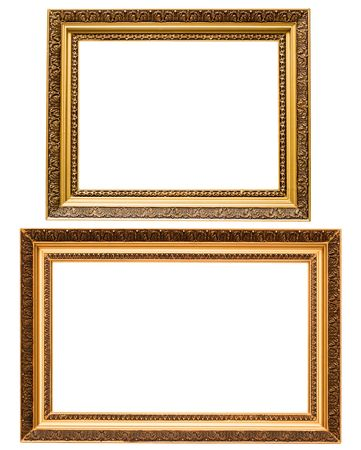 plated: Two gold plated wooden picture frames isolated on white