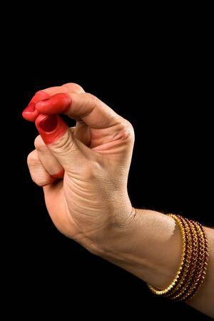 bharatanatyam dance: Woman hand showing Katakamukha hasta (meaning opening in a bracelet) of indian classic dance Bharata Natyam