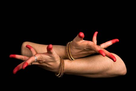 dissimulation: Woman hand showing Avahittha hasta (meaning dissimulation) of indian classic dance Bharata Natyam