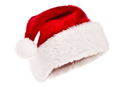Santas red hat isolated on white photo