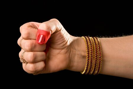 indian classical dance: Woman hand showing Musti hasta (meaning fist) of indian classic dance Bharata Natyam