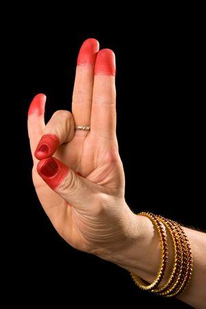 hasta: Woman hand showing Mayura hasta (meaning peacock) of indian classic dance Bharata Natyam