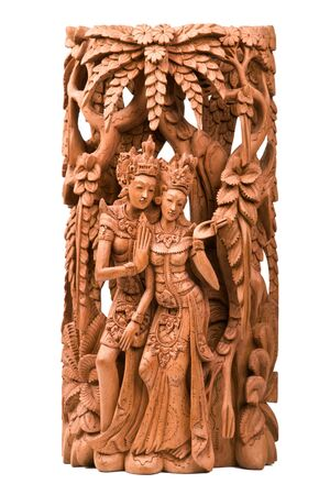 Rama and his wife Sita of Hindu mythology wood carving Stock Photo