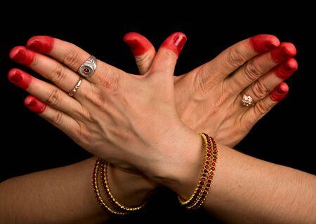Woman hand showing Garuda hasta (meaning Eagle) of indian classic dance Bharata Natyam