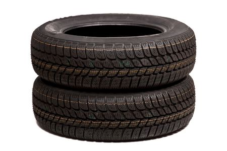 Two car tires isolated on white background Stock Photo - 3841250