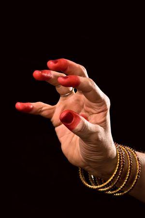 kuchipudi: Woman hand showing Padmakosha hasta (meaning Lotus bud) of indian classic dance Bharata Natyam