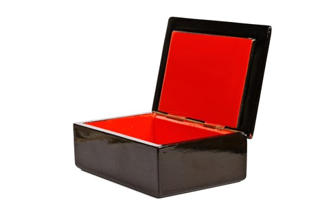 wooden lid: Empty open wooden box isoleate on white
