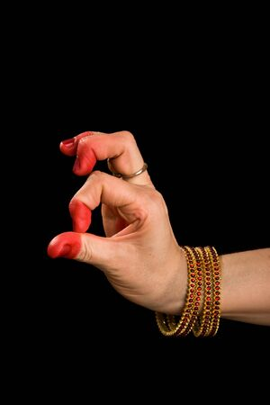 bharatanatyam dance: Woman hand showing Palli hasta (meaning Lizard) of indian classic dance Bharata Natyam