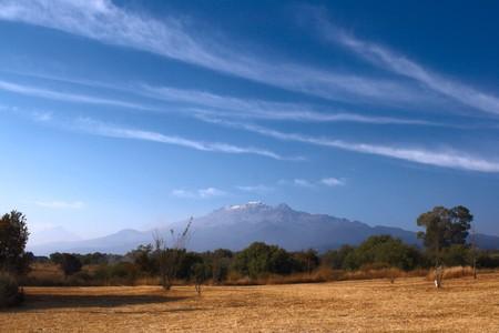 Popocatepetl  volcano and blue sky in Mexico