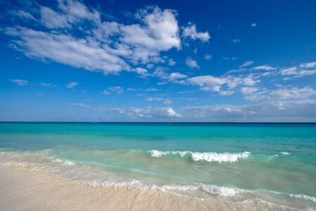 Beautiful beach and  waves of Caribean Sea photo