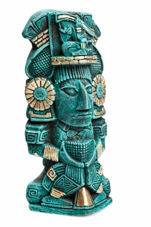 mayan: Mayan deity statue from Mexico isolated on white background Stock Photo