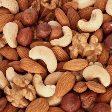 protien: Assorted nuts (almonds, filberts, walnuts, cashews) close up
