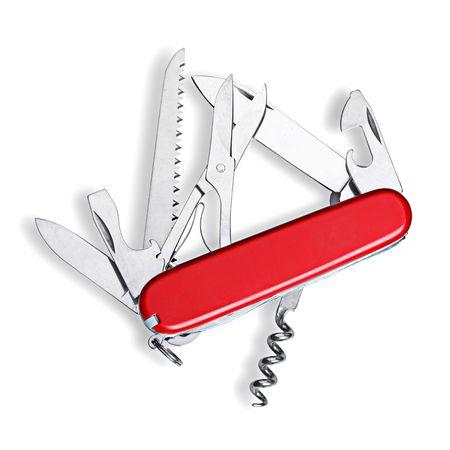 multipurpose: multipurpose knife isolated on white Stock Photo