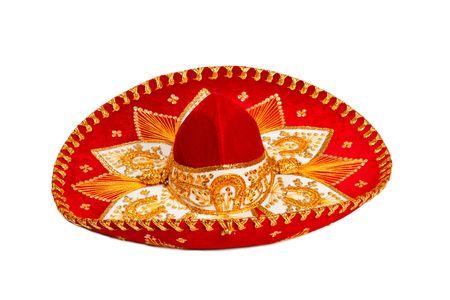 mariachi: Rode sombrero geïsoleerd op whit Stockfoto