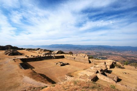 Panorama of sacred site Monte Alban in Mexico photo