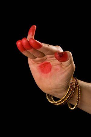 bharatanatyam dance: Woman hand showing Hamsapaksha hasta (hand gesture, also called mudra)