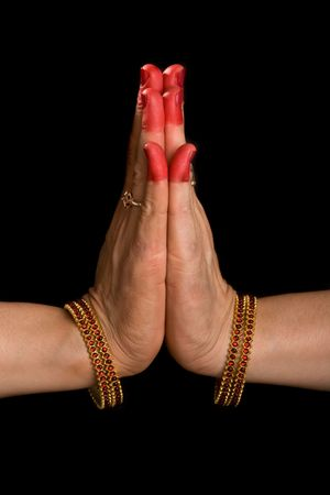 anjali: Woman hands showing Palli hasta (meaning Respectful salutation of indian classic dance Bharata Natyam