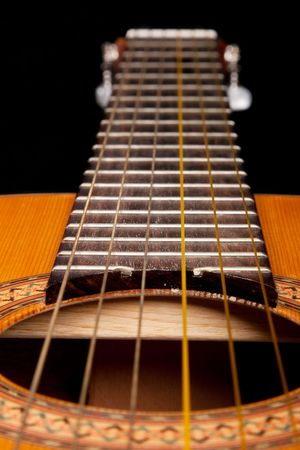 Classical guitar close up on dark background photo