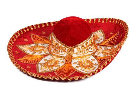 sombrero: Red sombrero isolated on whit