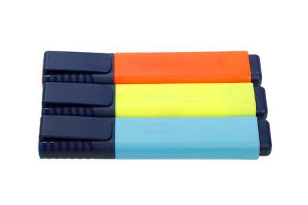 Three felt tip pens isolated on white background photo