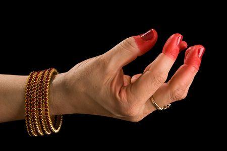 hasta: Woman hand showing Samdamsha hasta (hand gesture, also called mudra)