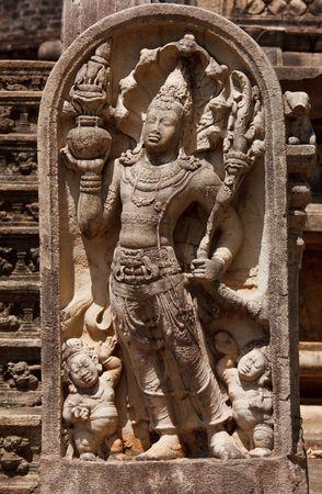 Ancient guardstone bas relief at Vatadage in Pollonnaruwa, Sri Lanka photo