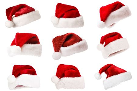 Set of Santas red hat isolated on white Stock Photo