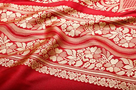 pleat: Indian sari with pleats clouse up texture Stock Photo