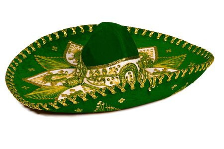mariachi: Green mexican sombrero isolated on whit