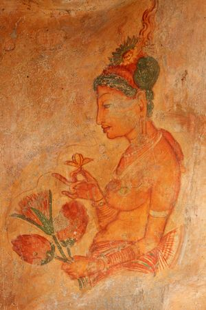 damsels: Ancient famous wall paintings (frescoes) at Sigirya, Sri Lanka