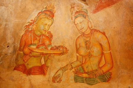 Ancient famous wall paintings (frescoes) at Sigirya, Sri Lanka photo