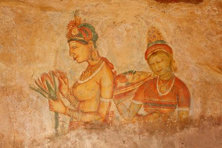 Ancient famous wall paintings (frescoes) at Sigirya, Sri Lanka photo